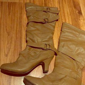 Tan 3inch heeled boots